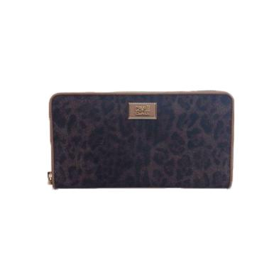 Long size Wallet Zip Identity Leopa Tan
