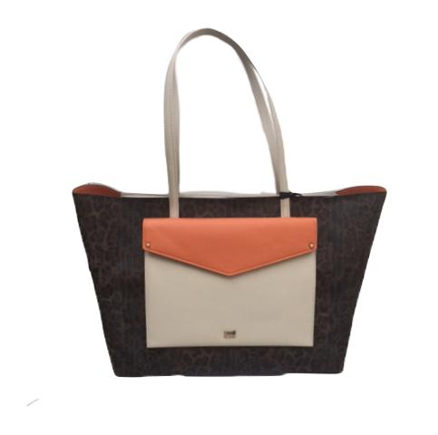 Large Shopping Bag Leopard & Orange